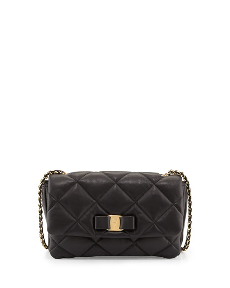 Gelly Quilted Leather Shoulder Bag, Black