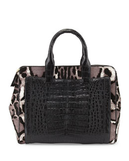 Nancy Gonzalez Modern Double Zip Calf Hair Tote Bag, Black/White