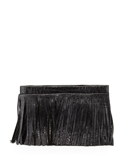 Nancy Gonzalez Crocodile Fringe Crossbody Clutch Bag, Black