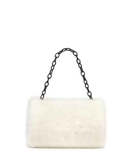 Small Framed Mink Fur Clutch Bag, White
