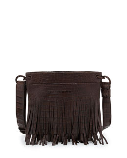 Nancy Gonzalez Crocodile Fringe Crossbody Bag, Brown