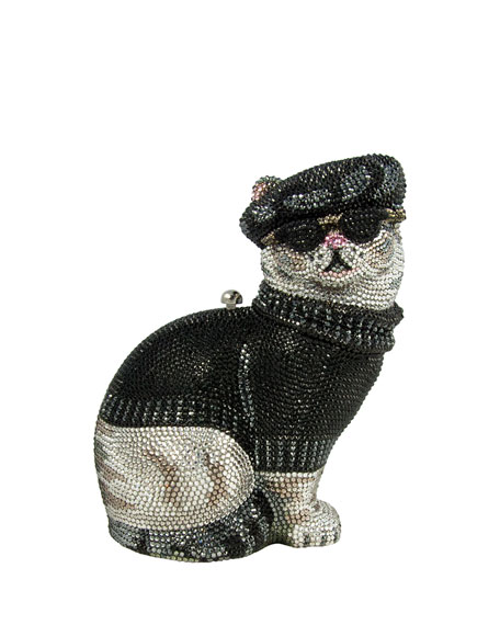Judith Leiber Couture Crystal Beatnik Cat Minaudiere, Jet
