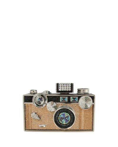 Judith Leiber Couture Camera Crystal Minaudiere, Jet Multi