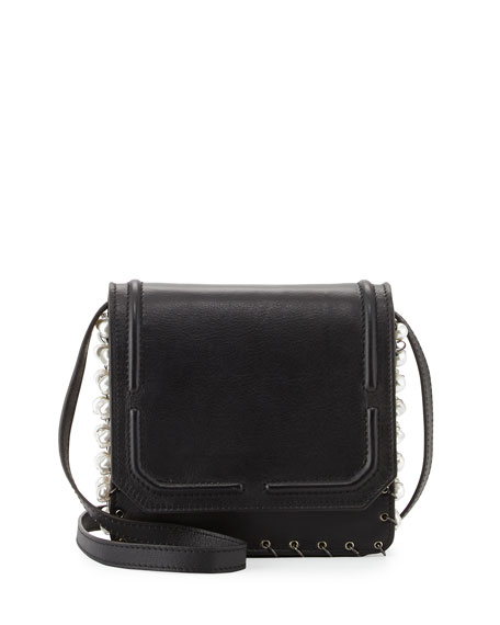 Lypton Chain and Pearly-Detail Crossbody Bag, Black