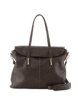 Elizabeth and James Pyramid Leather Satchel Bag, Raisin
