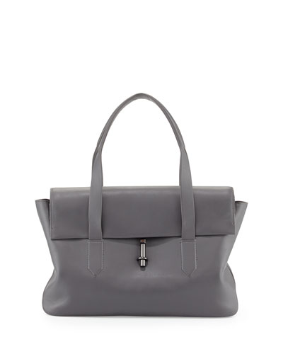 Elizabeth and James Jack Leather Satchel Bag, Steel Gray