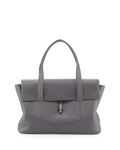 Elizabeth and James Jack Leather Satchel Bag, Steel Gray