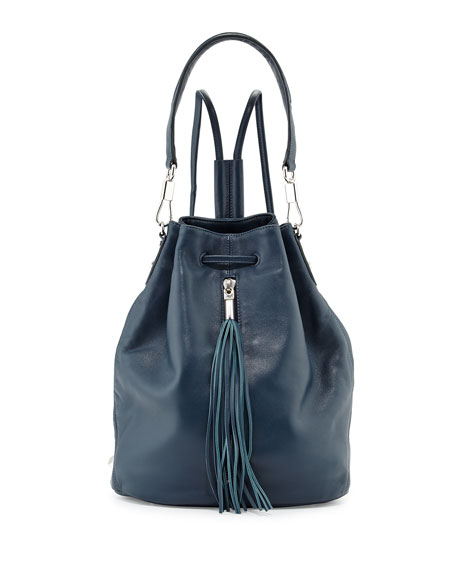 Cynnie Lambskin Tassel Drawstring Backpack, Blue