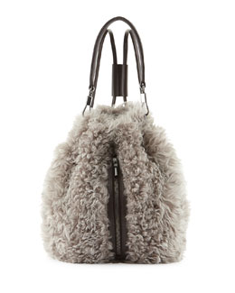 Elizabeth and James Cynnie Lamb Fur Drawstring Backpack