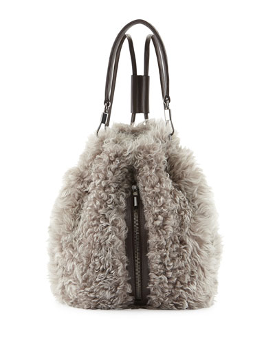 Elizabeth and James Cynnie Lamb Fur Drawstring Backpack