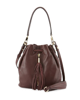 Elizabeth and James Cynnie Mini Tassel Bucket Bag, Merlot