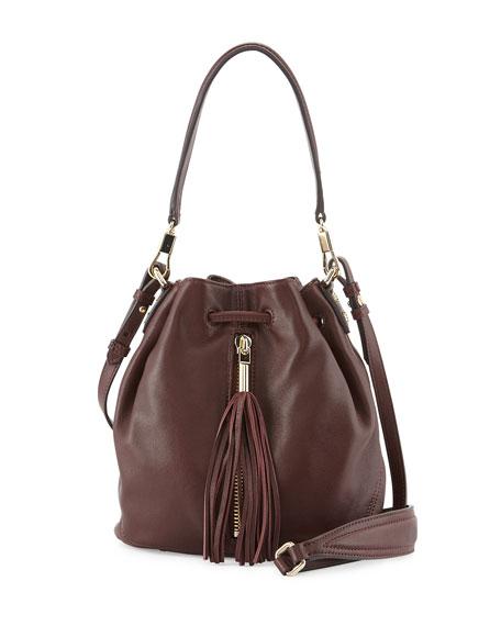 Elizabeth and James Cynnie Mini Tassel Bucket Bag, Merlot