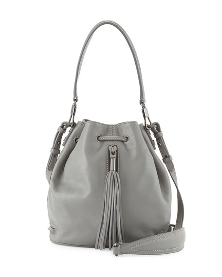Cynnie Mini Tassel Bucket Bag, Ferro