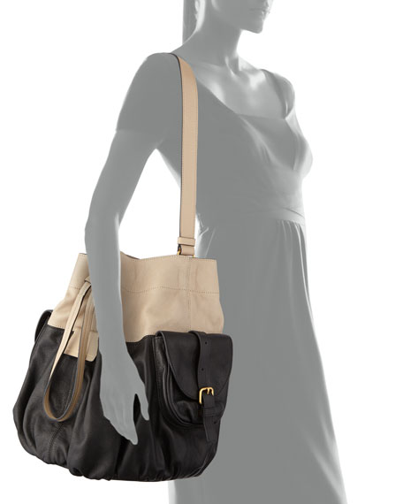 Gather Round Drawstring Leather Bucket Bag, Black Multi