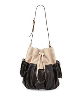 MARC by Marc Jacobs Gather Round Drawstring Leather Bucket Bag, Black Multi