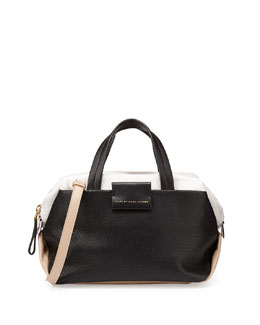 MARC by Marc Jacobs Colorblock Leather Box Satchel Bag, Black Multi