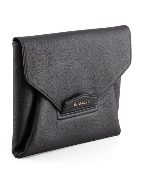 Antigona Evening Envelope Medium Leather Clutch, Black