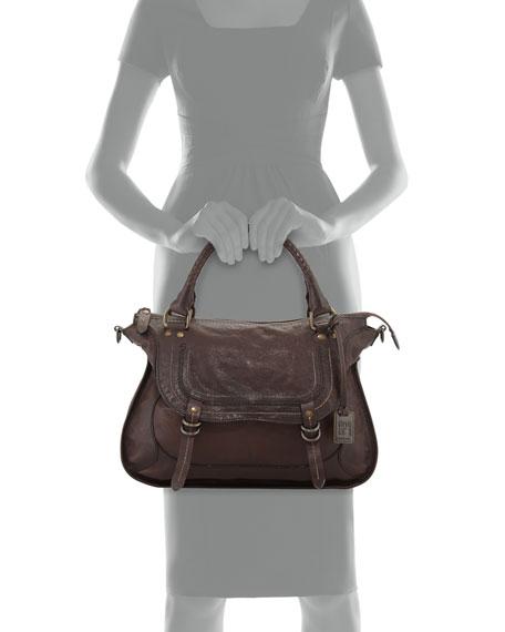Anna Hammered Leather Satchel Bag, Dark Brown