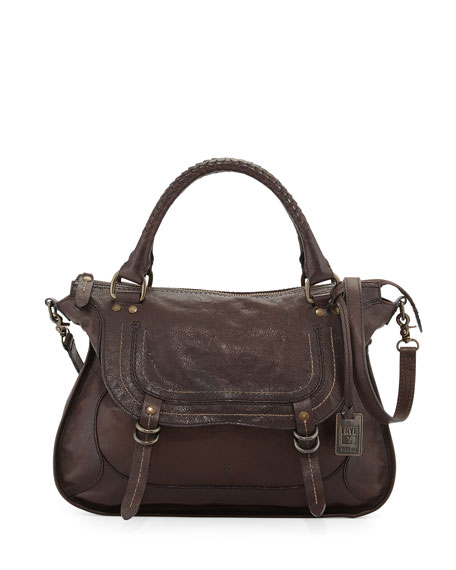 Frye Anna Hammered Leather Satchel Bag, Dark Brown