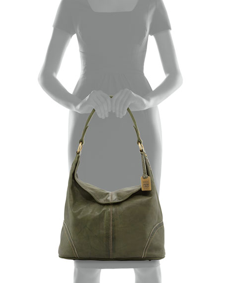 Campus Fold-Over Hobo Bag, Olive
