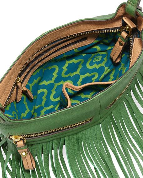 Bristol Fringe Leather Zip Crossbody Bag, Kelly