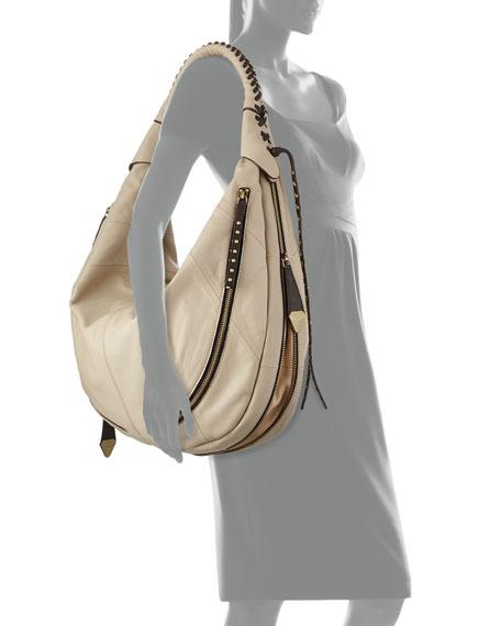 Jasmine Zip Hobo Bag, Stone