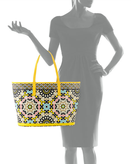 St. Tropez Mosaic-Print Coated Canvas Tote Bag