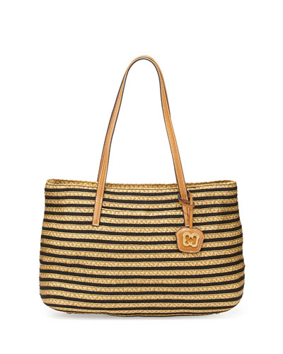 Dame Brooke Squishee Tote Bag, Black/Natural