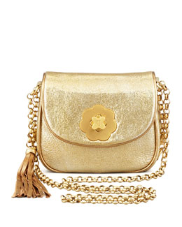 Eric Javits Baby Metallic Shoulder Bag, Gold