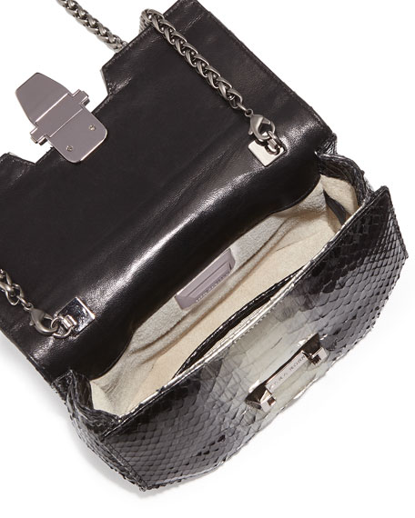Petra Mini Python Latch Clutch Bag, Black/Silver