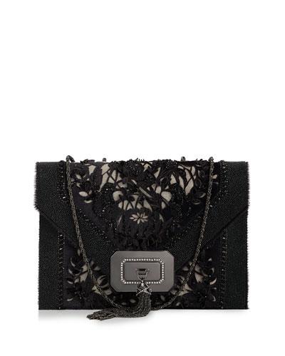 Marchesa Casati Large Lace Shoulder Bag, Black