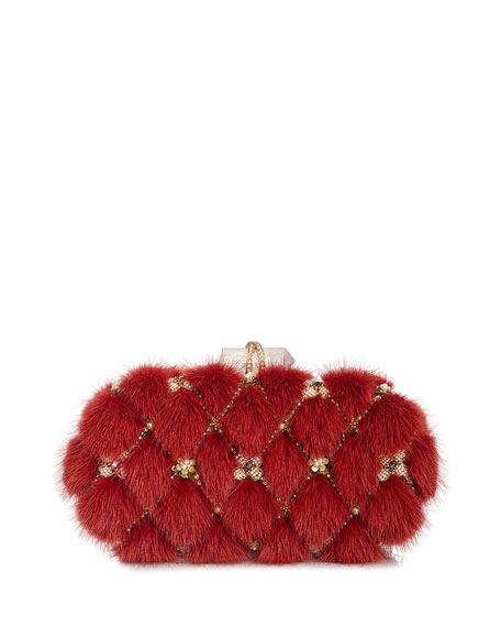 Lily Mink Fur Oval Box Clutch Bag, Red