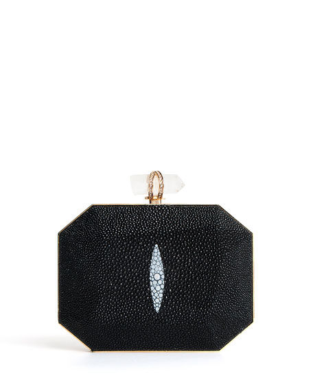 Iris Stingray Box Clutch Bag, Black