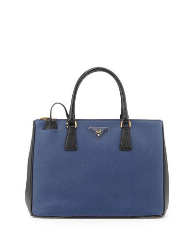2518ceaa9367 Prada Saffiano Lux Bicolor Double-Zip Tote Bag, Blue/Black (Bluette+Nero)