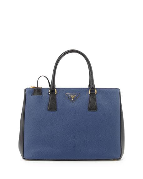 prada saffiano lux double-zip tote bag black