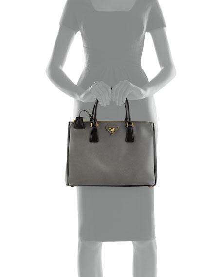 Saffiano Lux Bicolor Double-Zip Tote Bag, Gray/Black (Mercurio+Nero)