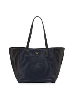 Prada Soft Calfskin Bicolor Tote Bag, Navy/Black (Baltico+Nero)