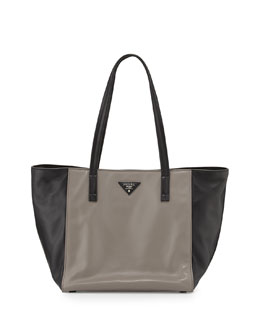 Prada Soft Calfskin Bicolor Tote Bag, Gray/Black (Argilla+Nero)