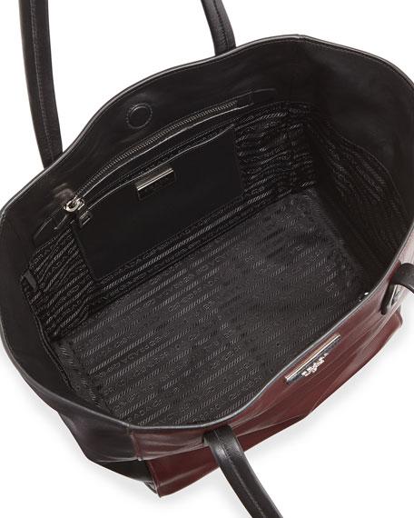Prada Soft Calfskin Bicolor Tote Bag, Bordeaux/Black (Granato+Nero)