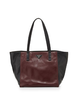 Prada Soft Calfskin Bicolor Tote Bag, Bordeaux/Black (Granato+Nero)