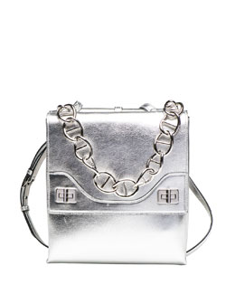 Prada Vitello Soft Chain Shoulder Bag, Silver (Argento)