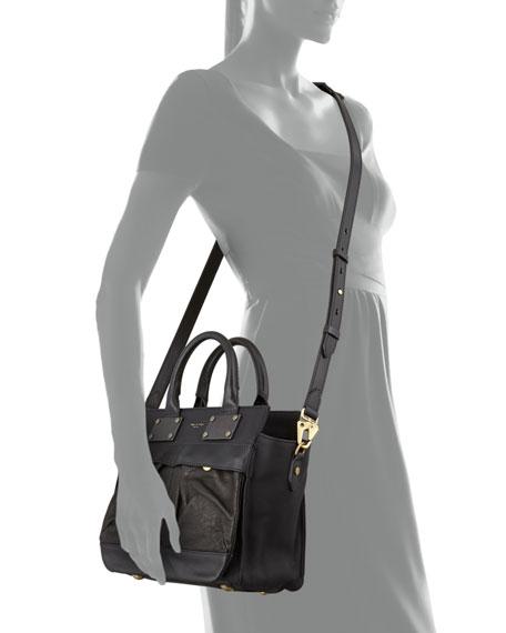 Pilot Small Leather Satchel Bag, Black