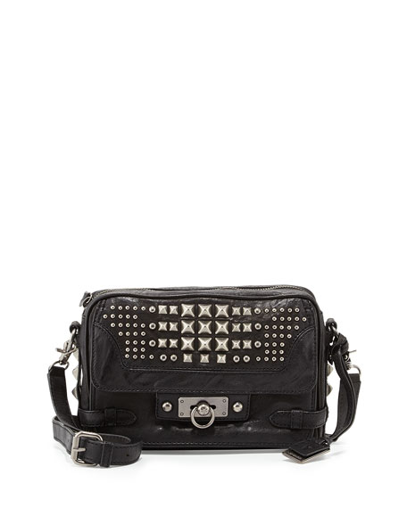 Cameron Studded Leather Crossbody Bag, Black