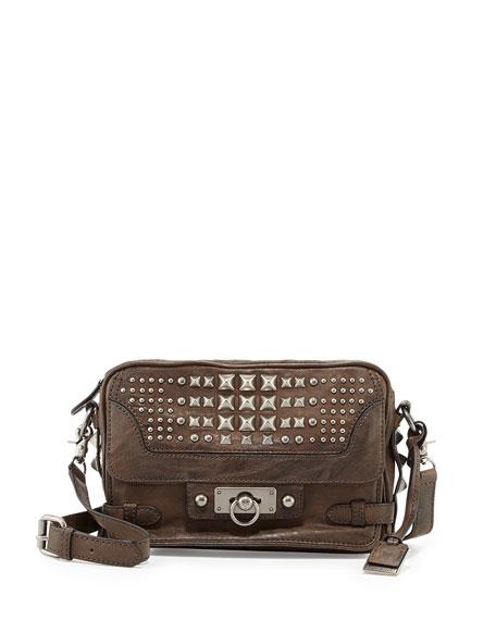 Cameron Studded Leather Crossbody Bag, Taupe