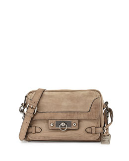 Frye Cameron Distressed Leather Crossbody Bag, Gray