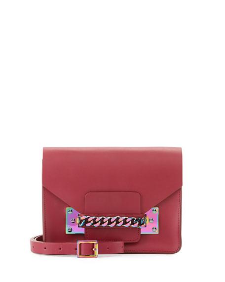 Iridescent Chain Envelope Bag, Raspberry