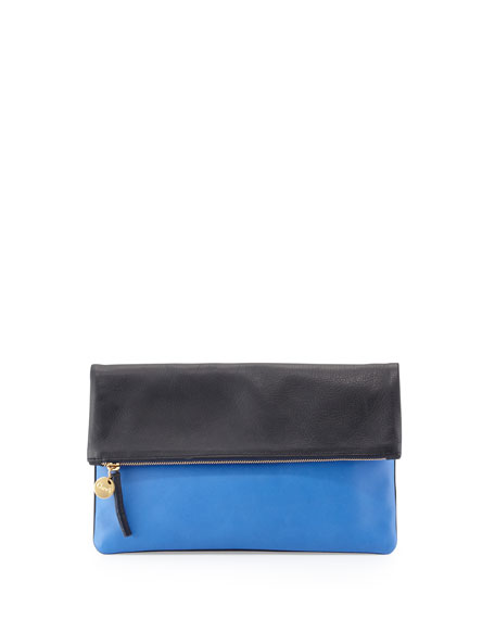 Clare V. Supreme Colorblock Fold-Over Clutch Bag, Navy/Cobalt