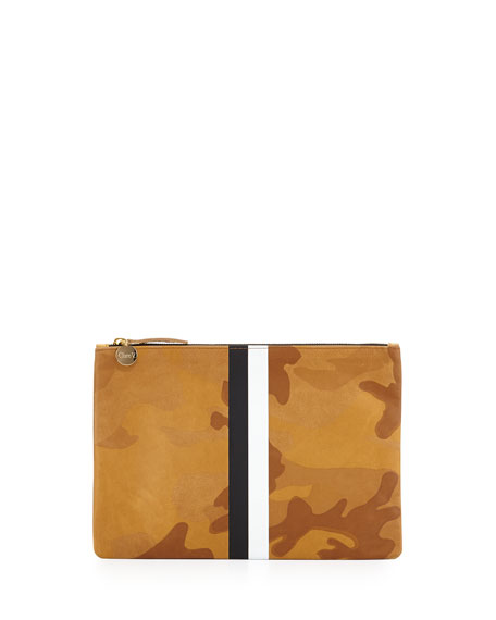 Bicolor-Stripe Camo-Print Clutch Bag