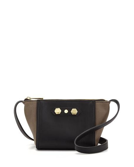Dani Colorblock Faux-Leather Crossbody Bag, Gray Combo