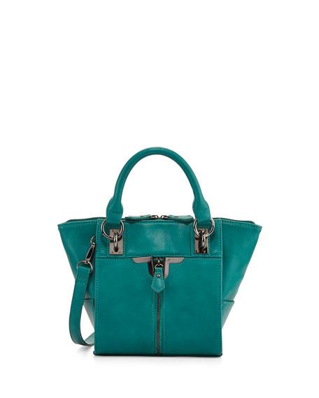 Alexa Zip-Front Mini Crossbody Bag, Peacock